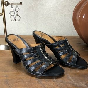 Sofft Black Leather Strap Cushioned Mule Sandals